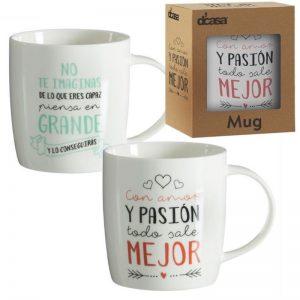 Set mug desayuno frases positivas
